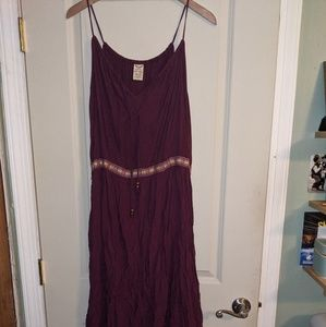 Burgundy long thin strap dress